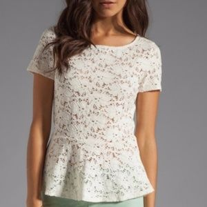 Velvet by Graham and Spencer Lace Peplum Top Cream